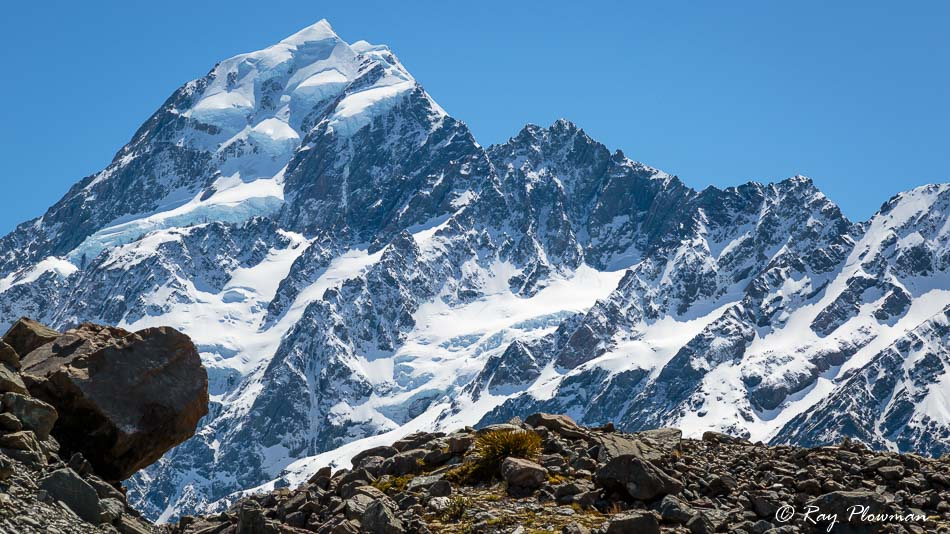 Aoraki Mount Cook and moraine debris in the Hooker Valley