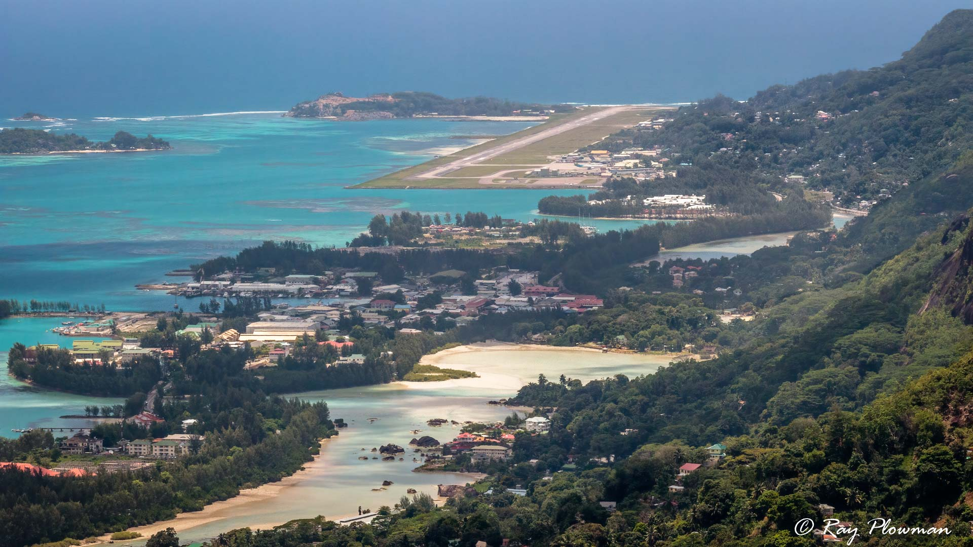 Seychelles international airport view from the top of the Glacis Trois Frères