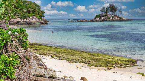 Anse Royale beach and Ile Souris at low tide, Seychelles