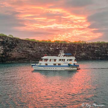Sunrise over Darwin Bay at Genovesa Island in Galapagos