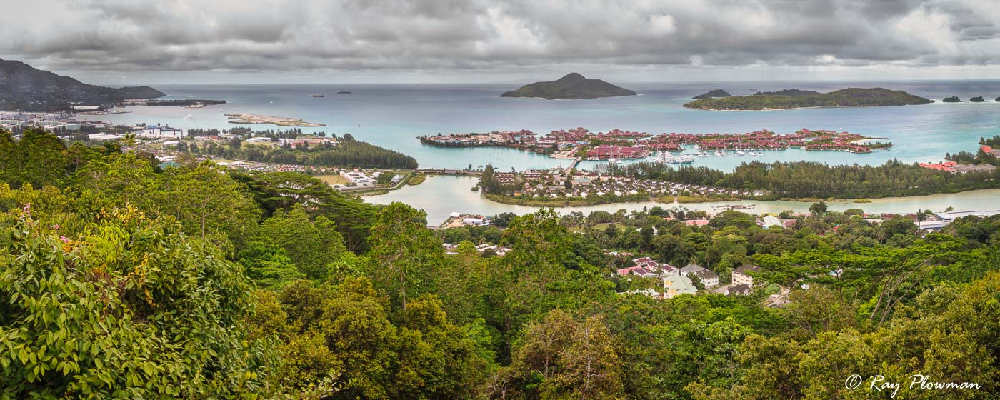 Eden Island and Ile au Cerf panorama from La Misère Viewpoint on Mahé island, Seychelles