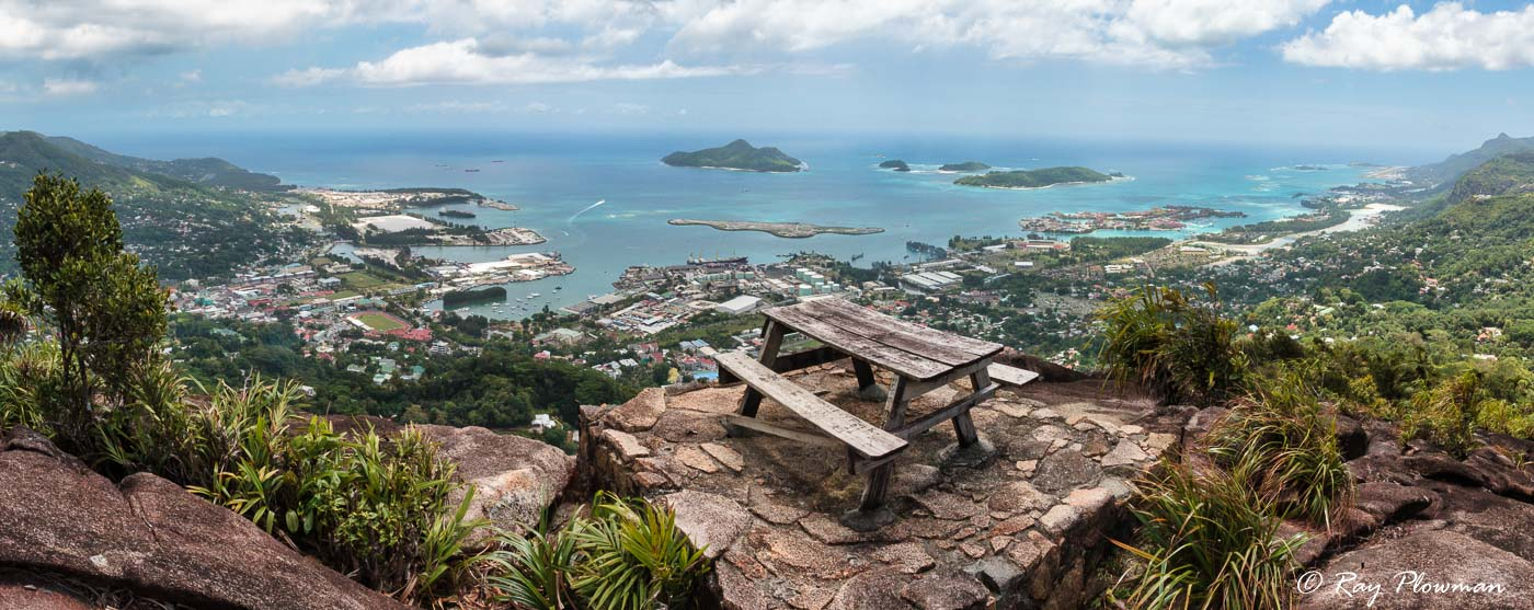 Mahé east coast panorama of the northern islands to the airport in the southeast taken from Glacis Trois Frères picnic area, Seychelles
