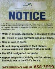 Public Safety Warning Notice at Macqueripe Bay in Trinidad